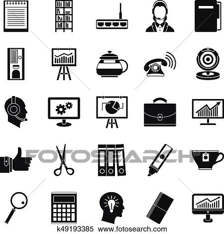 clipart of business support icons set simple style k49193385
