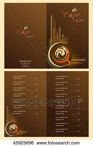Clip Art - café, speisemenü, schablone k5925696 - Suche Clipart ...