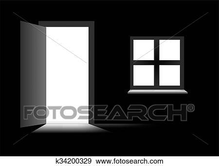 Colección de ilustraciones - cuarto oscuro, con, puerta k34200329 ...