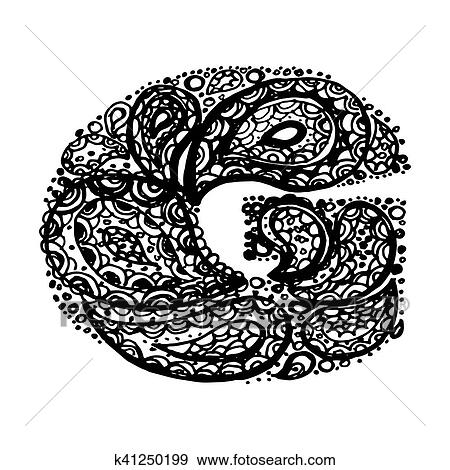 Clip Art Of Decorative Alphabet With A Paisley Zen Doodle Tattoo