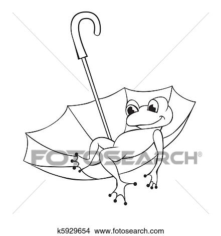 Clipart Of Frog And Umbrella K5929654
