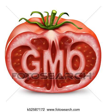 Clip Art Of Gmo Food Symbol K52587172 Search Clipart Illustration