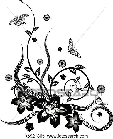 Clipart of gorgeous black corner floral design k5921865 search a gorgeous single colour silhouette corner flower design with butterflies mightylinksfo