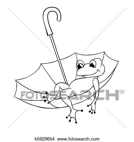 Clipart Grenouille Et Parapluie K5929654 Recherchez Des Clip