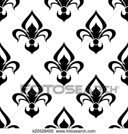 clipart of modern fleur de lys background seamless pattern k20528405