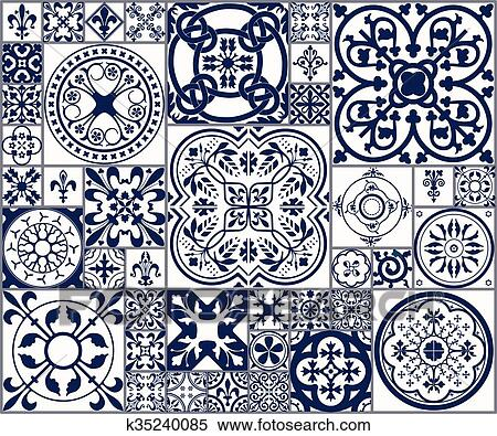 Clipart of Moroccan tiles Seamless Pattern A k35240085 - Search Clip ...