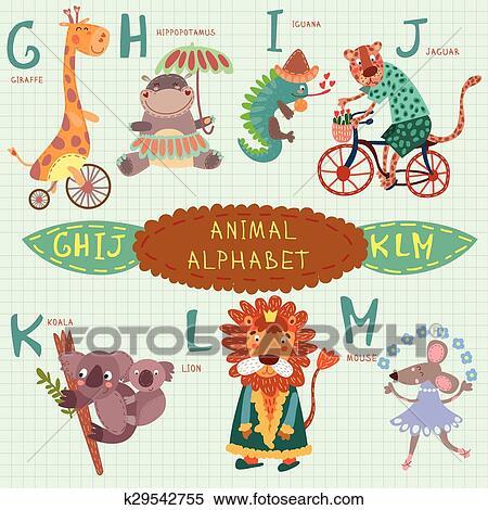 Muito Cute Alphabet G H I J K L M Letters Girafa