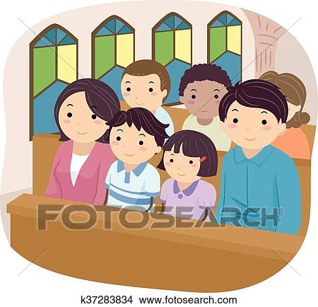 Stickman Family Church Clipart K37283834 Fotosearch