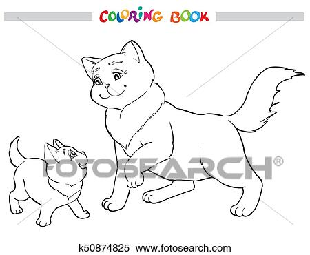 Vector Illustration Cat Mother With Kitten. Coloring Book Clipart  K50874825 Fotosearch