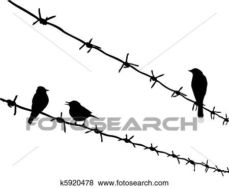 Clip Art of vector silhouette three birds on barbed wire k5920478 ...