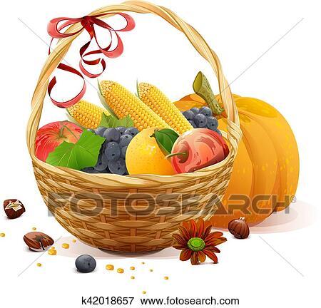 فواكه و نباتات إلى داخل سلة السلة Clip Art K42018657 Fotosearch