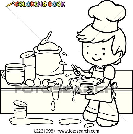 Boy Cooking In The Kitchen Vector Black And White