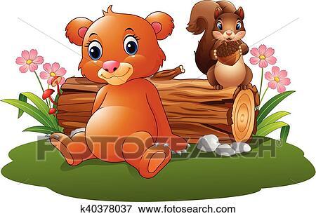 Cartone animato bambino orso marrone scoiattolo clip art
