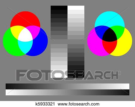 Clipart Of Color Test Chart Rgb Cmyk 16 Step Grey Smooth Grey