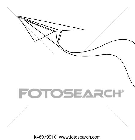 Continuous Line Drawing Of Paper Airplane Clipart K48079910