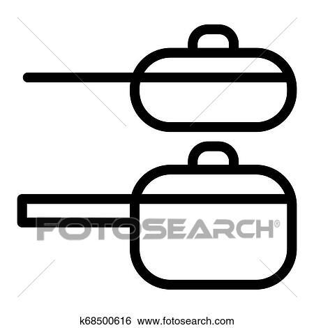 Dois Panelas Linha Icon Dois Cozinhar Potes Vetorial