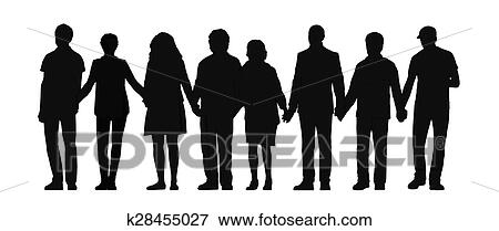 stock illustration of group of people holding hands silhouette 3