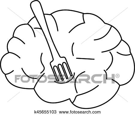 clipart of human brain with fork icon outline style k45655103 rh fotosearch com human brain pictures clip art human brain clip art black and white