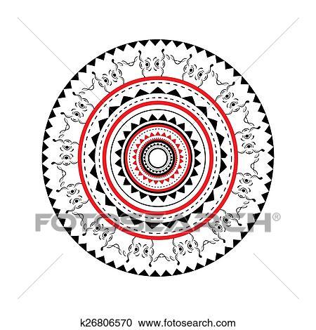 Clipart Illustrazione Di Maori Vuoto E Rosso Arrotondato