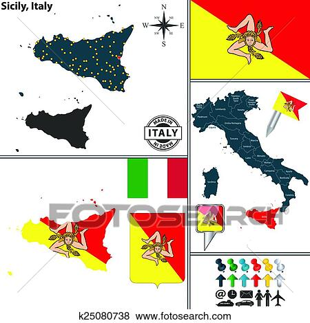 Clip Art of Map of Sicily, Italy k25080738 - Search Clipart ...