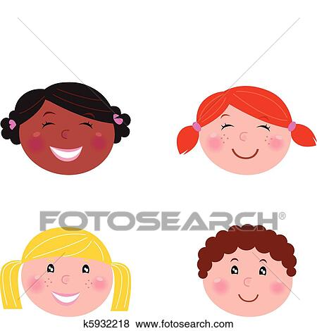 clip art of multicultural children heads isolated on white rh fotosearch com Behavior Clip Art Behavior Clip Art