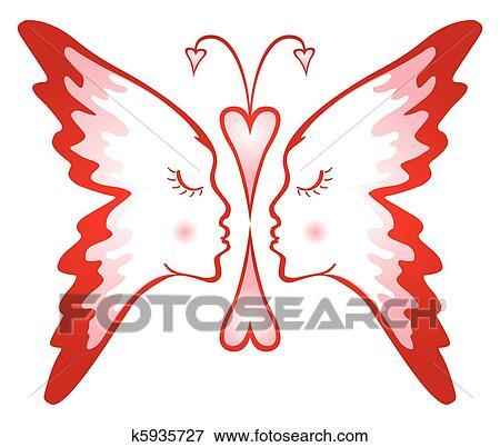Clipart papillon de amour k5935727 recherchez des - Clipart amour ...