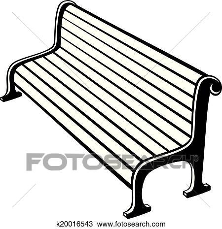 clipart of park bench k20016543 search clip art illustration rh fotosearch com