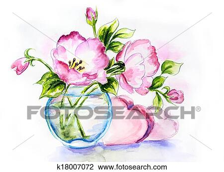 Clip Art Of Spring Flowers In Vase Watercolor Painting K18007072