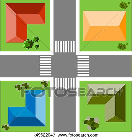 Top view of the city quarter with streets, houses, trees Clip Art
