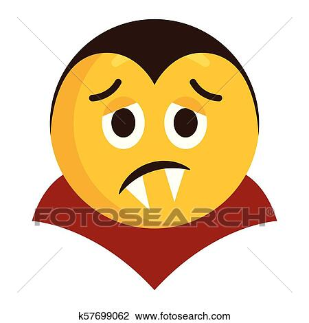 Triste Vampiro Emoji ícone Clipart