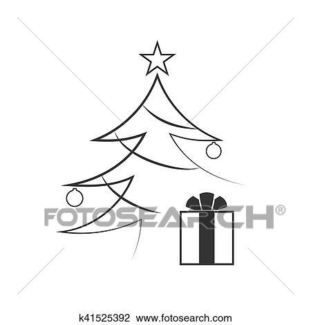 Clipart Tannenbaum Schwarz Weiß.Weihnachtsbaum Flache Freigestellt Clipart