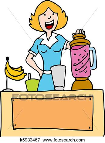 clip art of woman making a banana smoothie k5933467 search clipart rh fotosearch com make clipart free online make clipart transparent in powerpoint