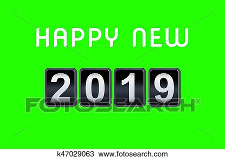 2018 2019 happy new year concept vintage analog counter countdown timer retro flip number counter from 2018 to 2019 year on chroma key green screen