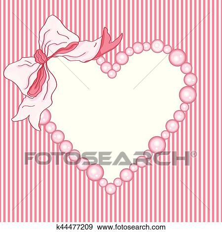 Clip Art of Baby shower girl heart frame and ribbon k44477209 ...