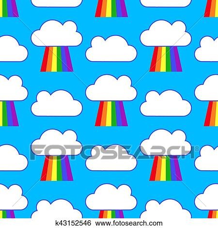 clip art of blue sky with rainbows and clouds seamless pattern rh fotosearch com clip art sky scenes clip art skid marks