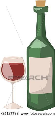 Bouteille vin, et, verre, de, alcool, illustration. Clipart