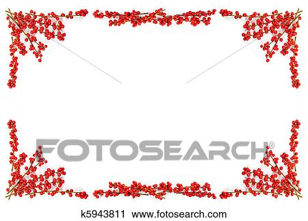 stock photography christmas border with red berries fotosearch search stock photos pictures