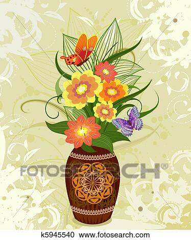 Clipart Of Decorative Flower In A Vase K5945540 Search Clip Art