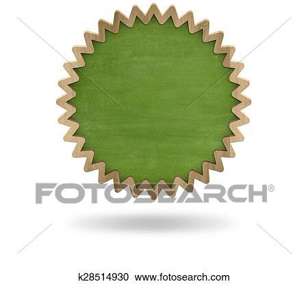 Schultafel clipart leer  Grün, leer, zahnrad, form, tafel, mit, hölzerner rahmen Clipart