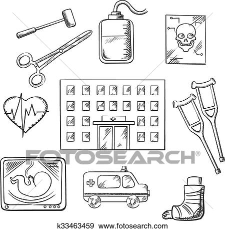 Clip Art Of Hospital Healthcare And Medical Objects K33463459