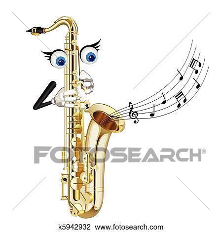 Clipart dessin anim saxophone k5942932 recherchez - Dessin saxophone ...