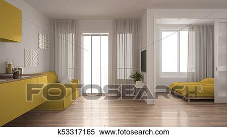 Klein, wohnung, mit, kueche, wohnzimmer, und, schalfzimmer ...