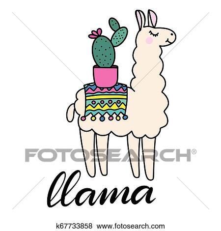 Lhama Lettering Vetorial Ilustracao Clipart K67733858