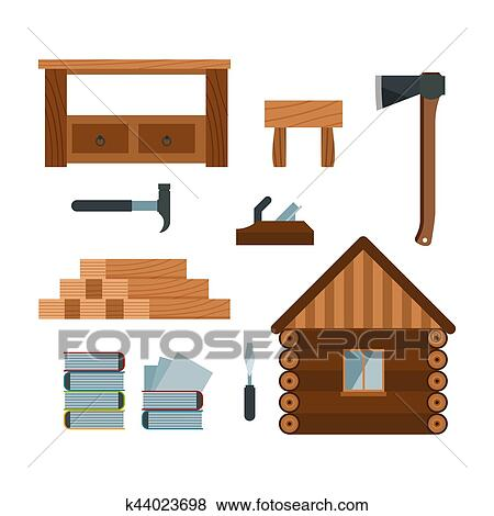 Clip Art Of Lumberjack Woodworking Tools Icons Vector Illustration