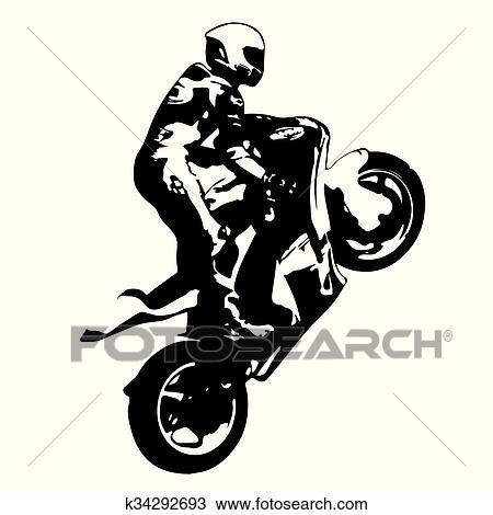 Moto Carreras Vector Dibujo Silueta Wheelie Clipart K34292693