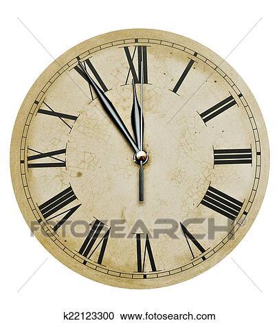 Ongekend Oud, klok, geïsoleerde, op wit,., oud, ouderwetse, klok gezicht RQ-04