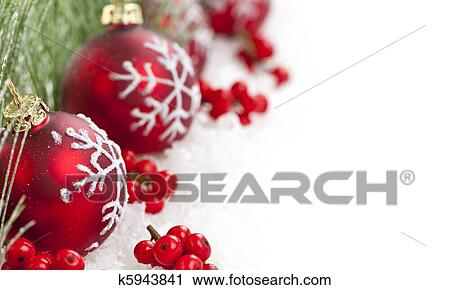 Red Christmas Decorations With Pine Branches With Copy Space