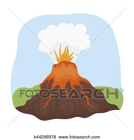 Volcan éruption Icône Dans Dessin Animé Style Isolé Blanc Arrière Plan Dinosaures Et Préhistorique Symbole Stockage Bitmap Rastr