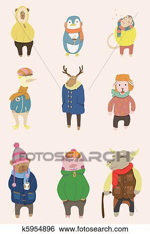 漫画 冬 動物 アイコン クリップアート K5954896 Fotosearch