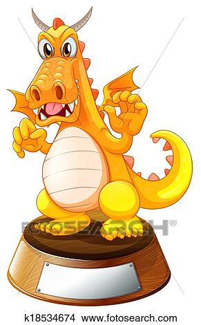 clipart of an angry dragon above the trophy stand with an empty